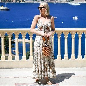 Camilla Floral Print Tie Front Midi Dress
